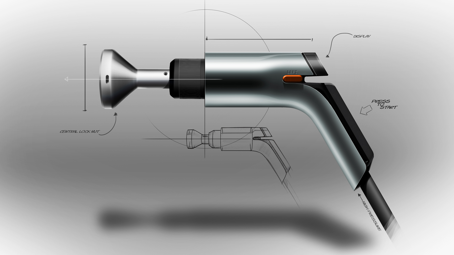 pneumatic screwdriver sketch with handwritten explanation on grey background