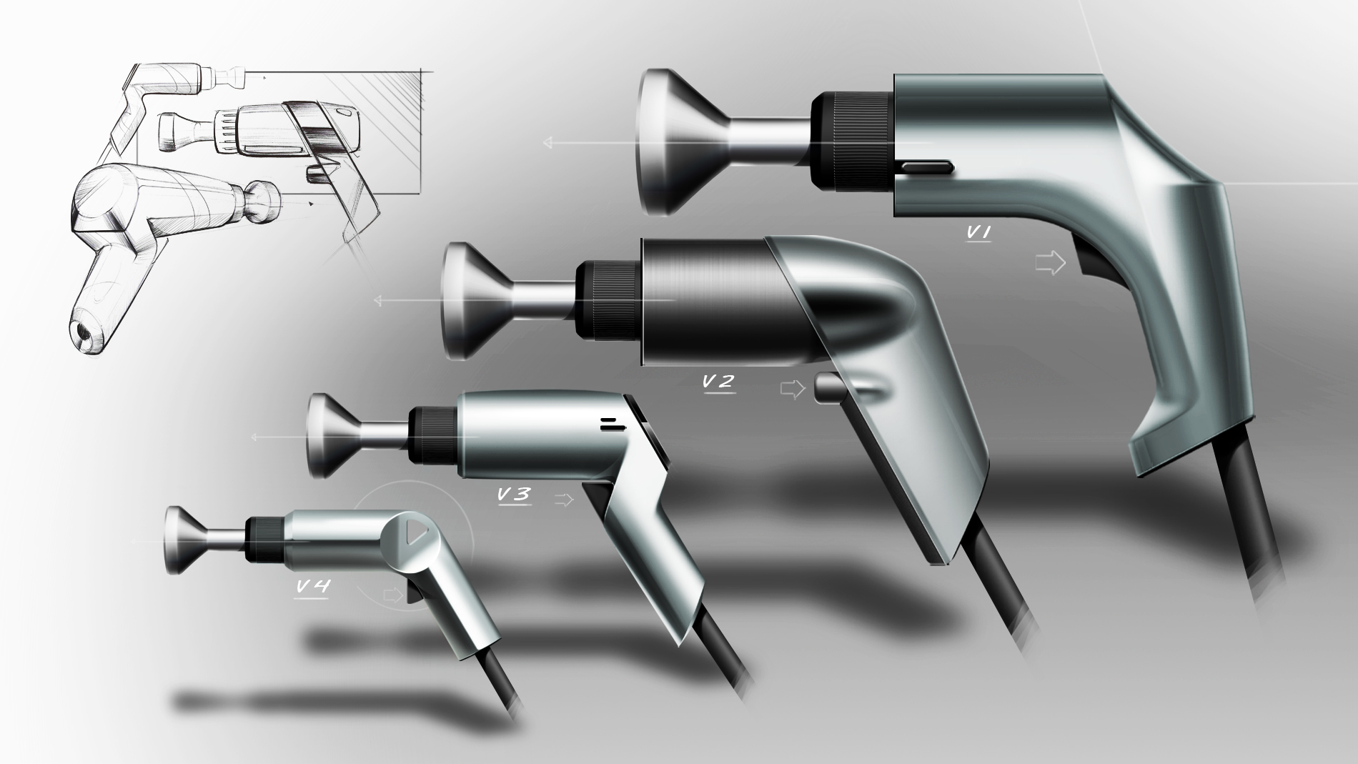 design sketche of a pneumatic screwdrivers 5 versions on grey background