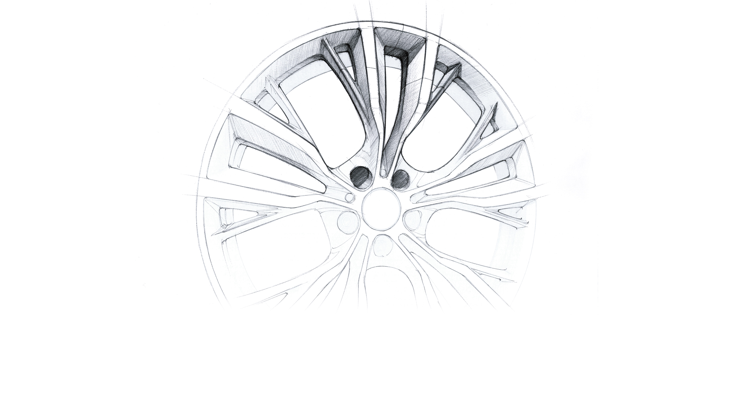 black on white rim design sketch