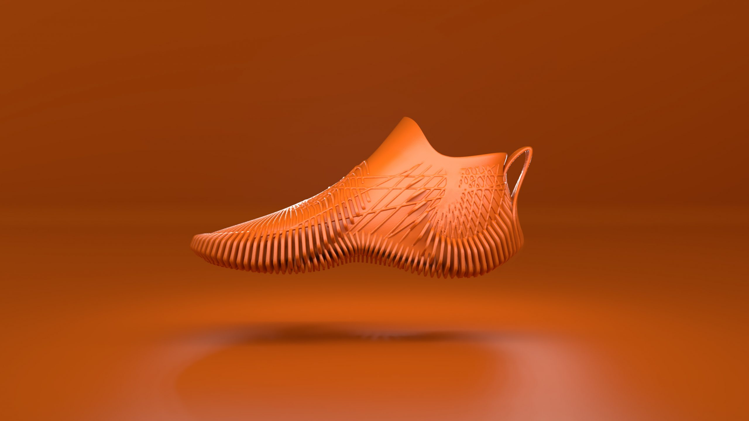 orange parametric shoe with structures on orange background