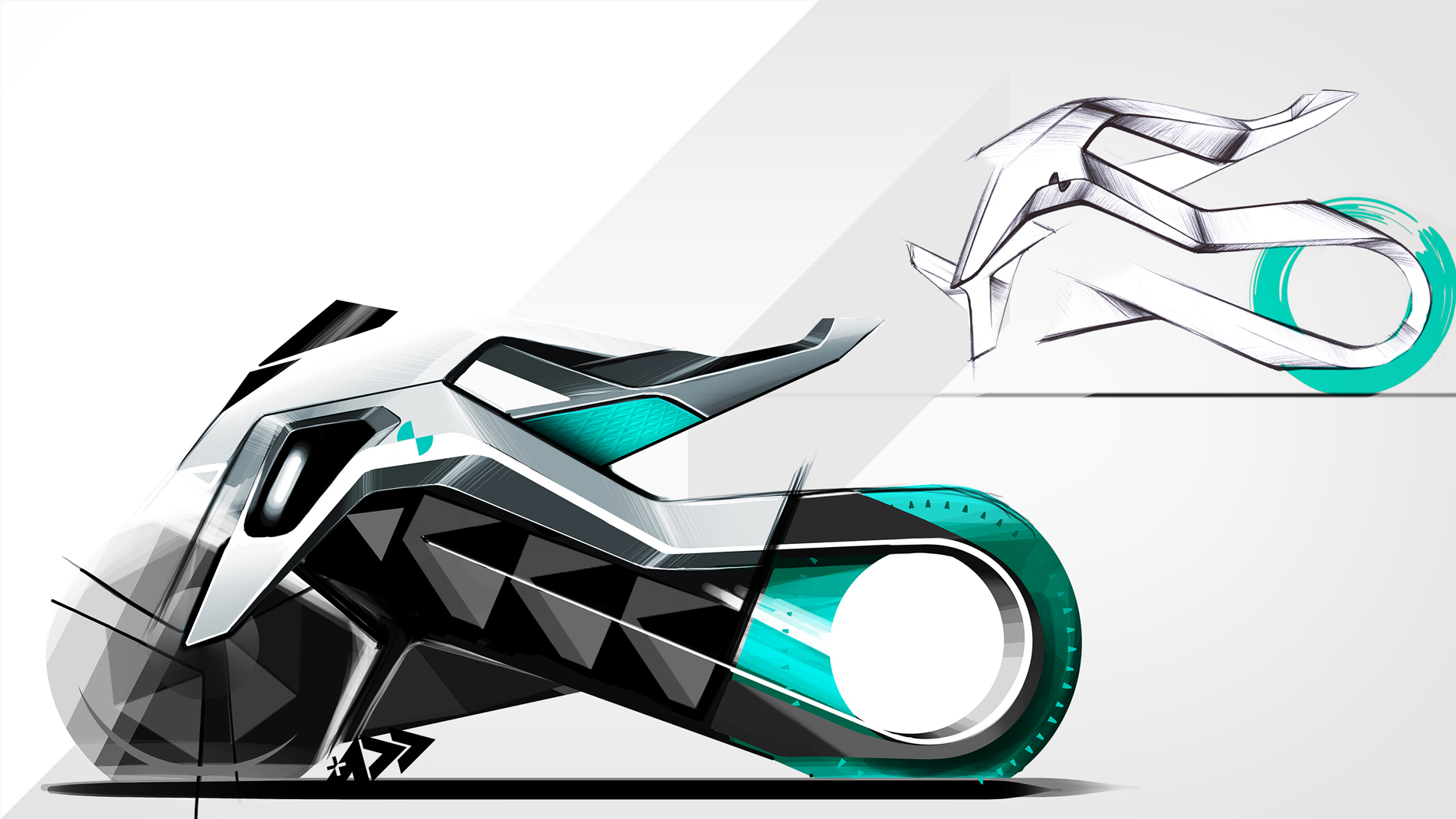 sketch of a bike sideview in grey black with a green back tire on white grey background