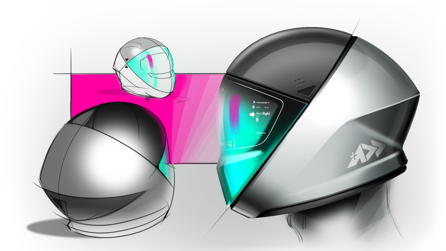 design sketch of a grey helmet with green vizor in three stept on white pink background