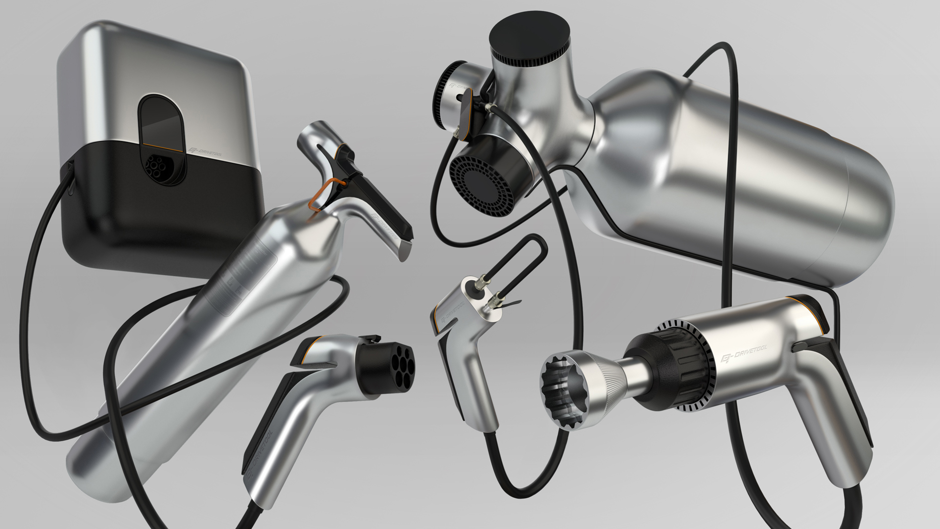 grey & black concept design tool family floating randomly in grey space