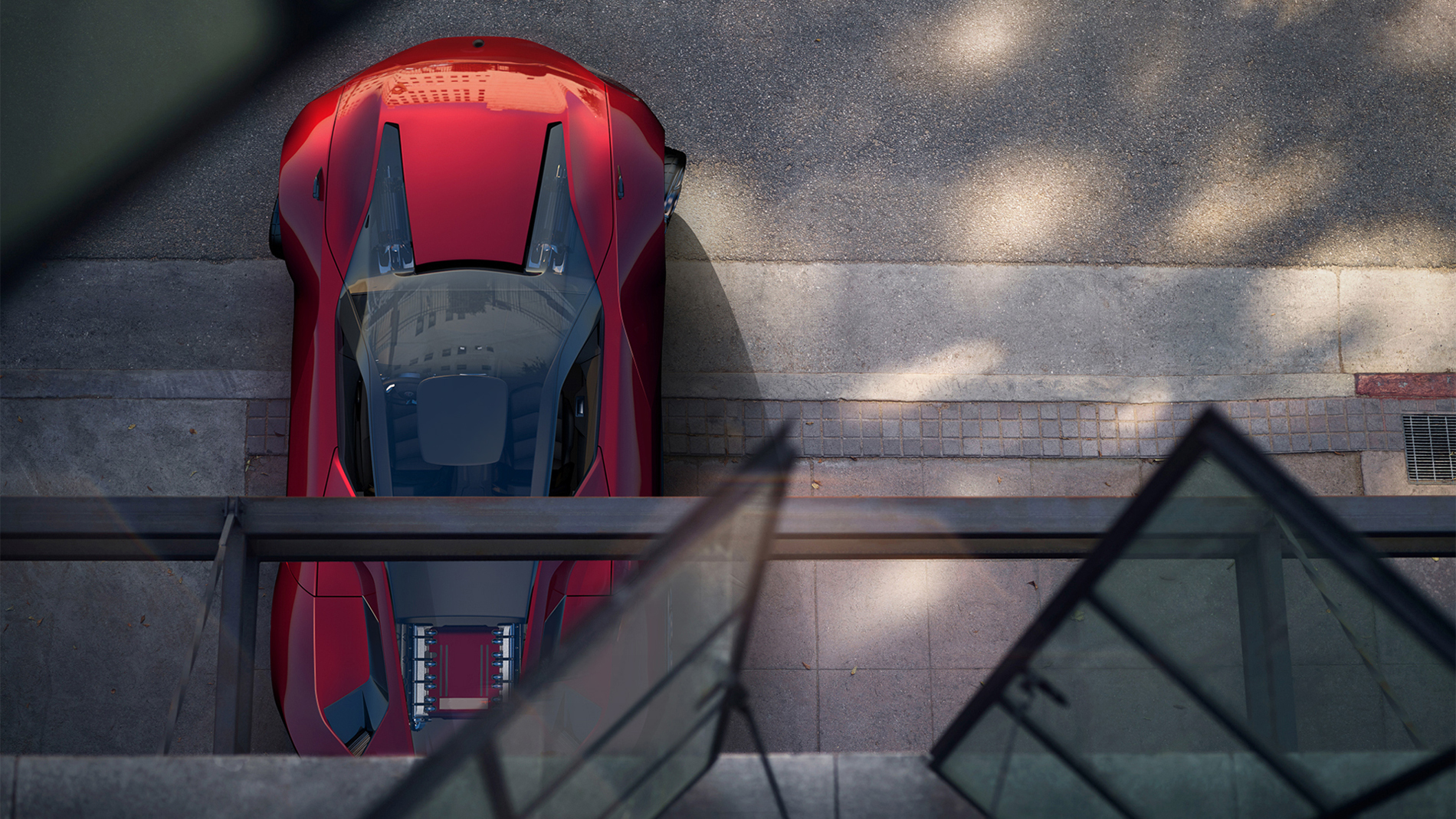 view on a red car from a window standing in front of the house