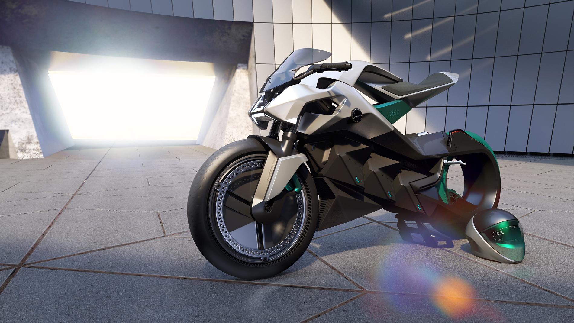 grey black green motorbike with helmet in showroom side view