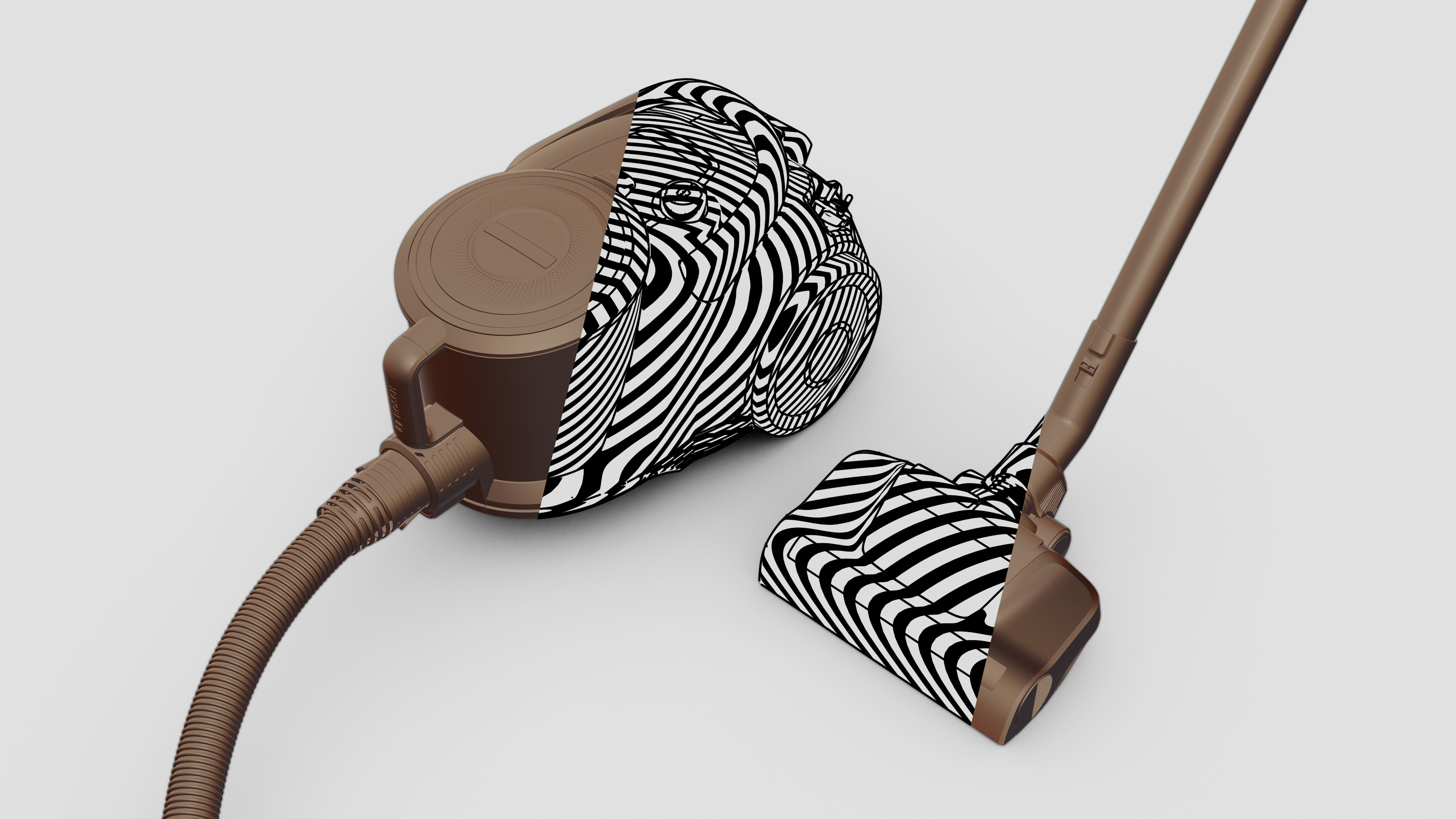half clay half zebra view of a vacuum cleaner on grey background