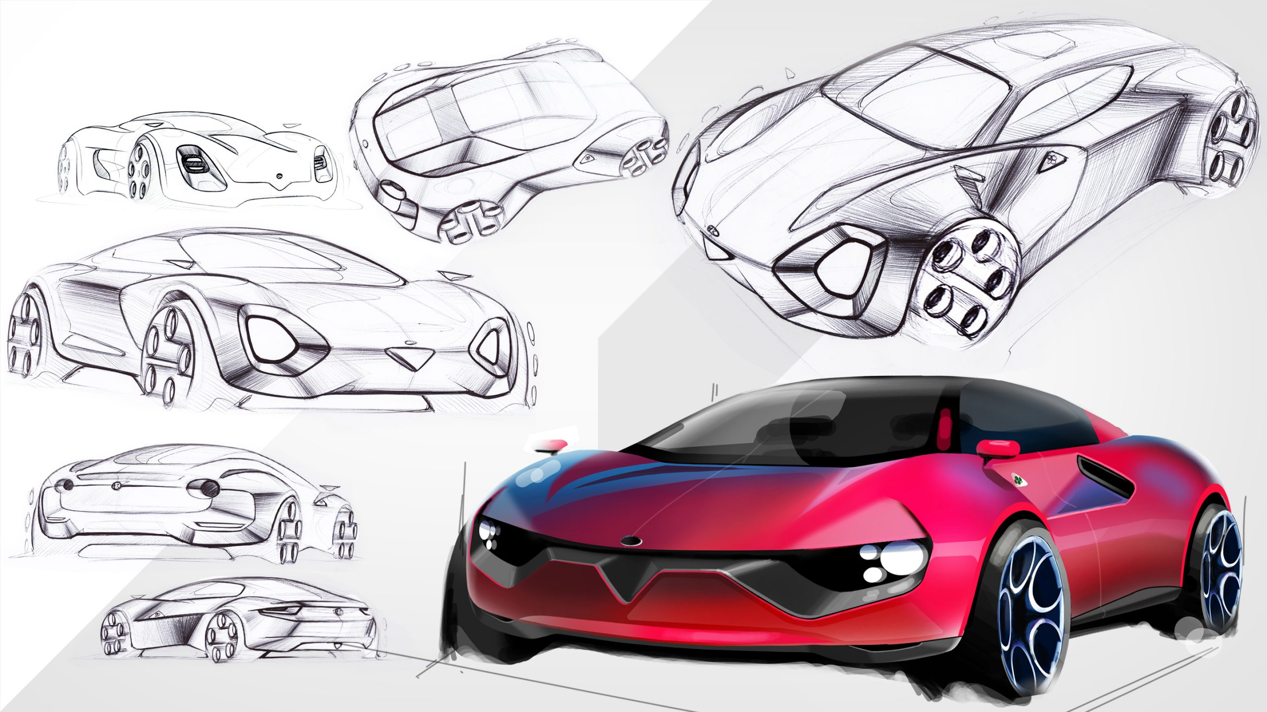 red sporty car design sketch progress in 7 steps from idea to rendering front