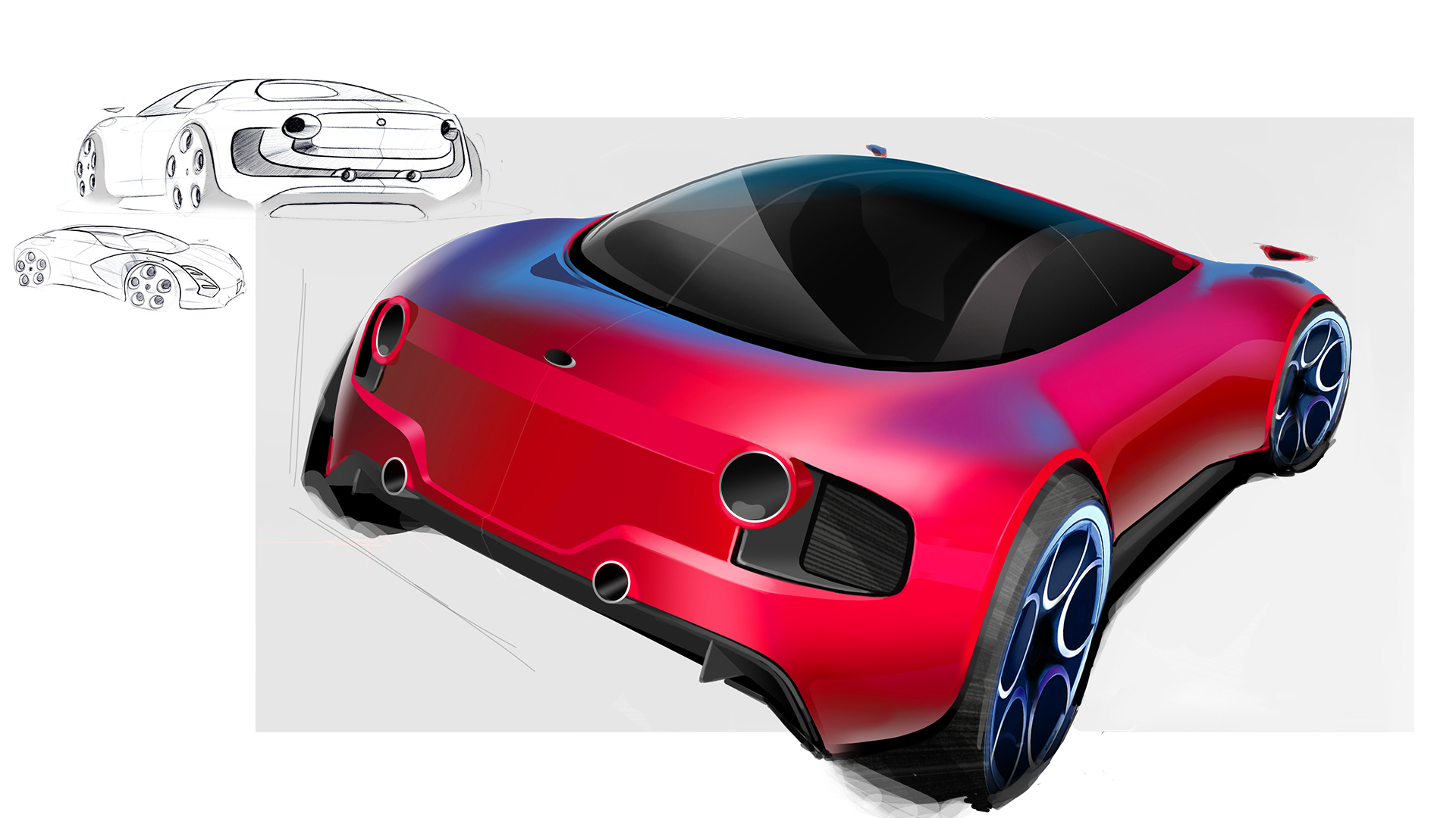 red sporty car design sketch progress in three steps from idea to rendering back