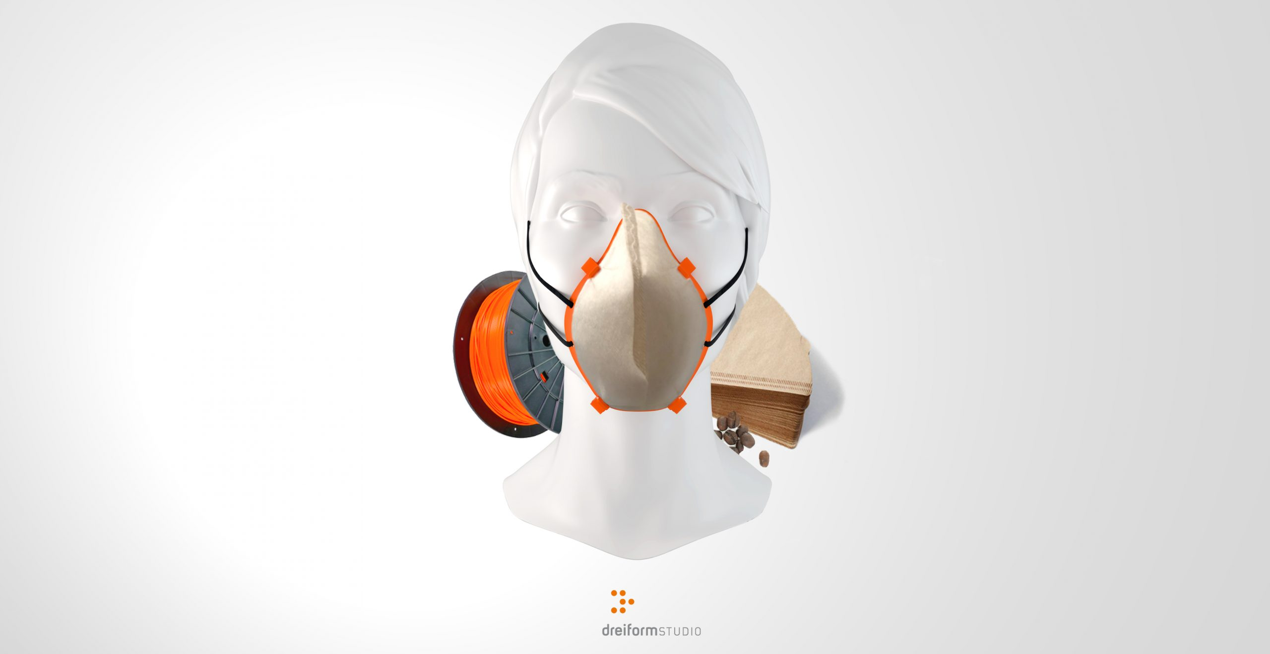 white torso with orange 3d printed caffee filter face mask on, on white background