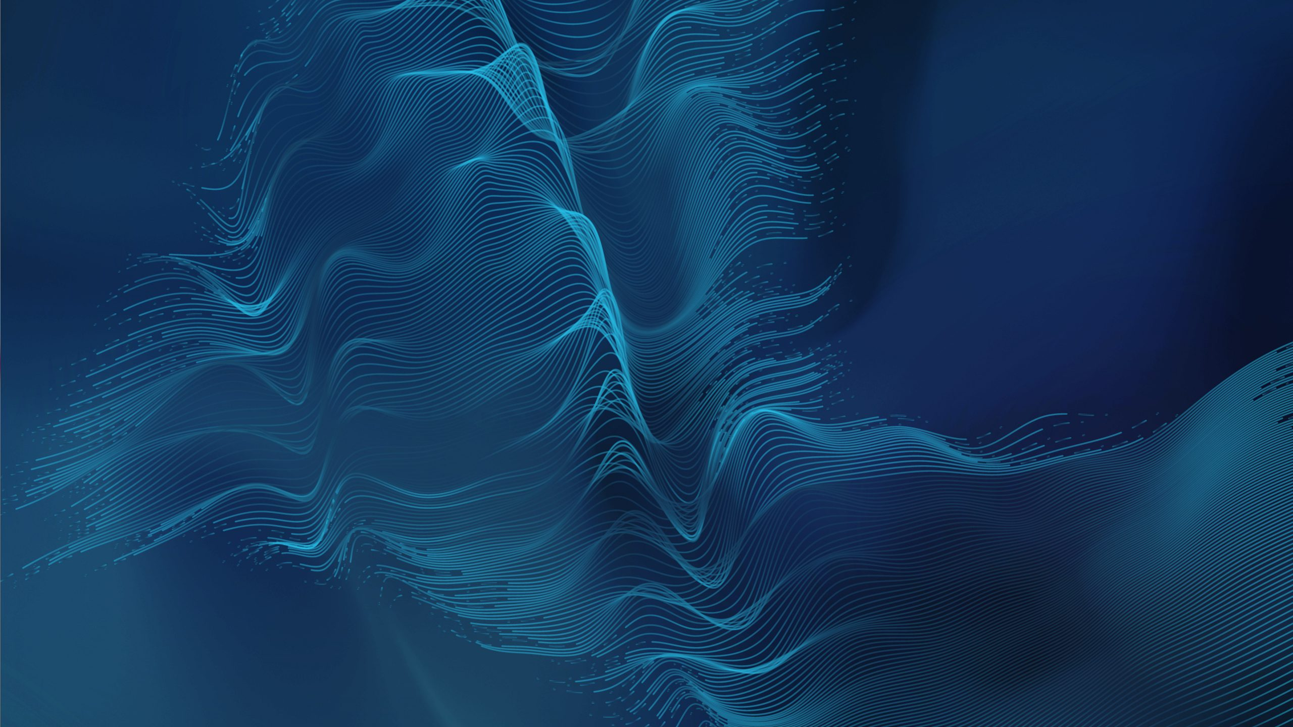 blue parametric wave lines graphic on dark blue background