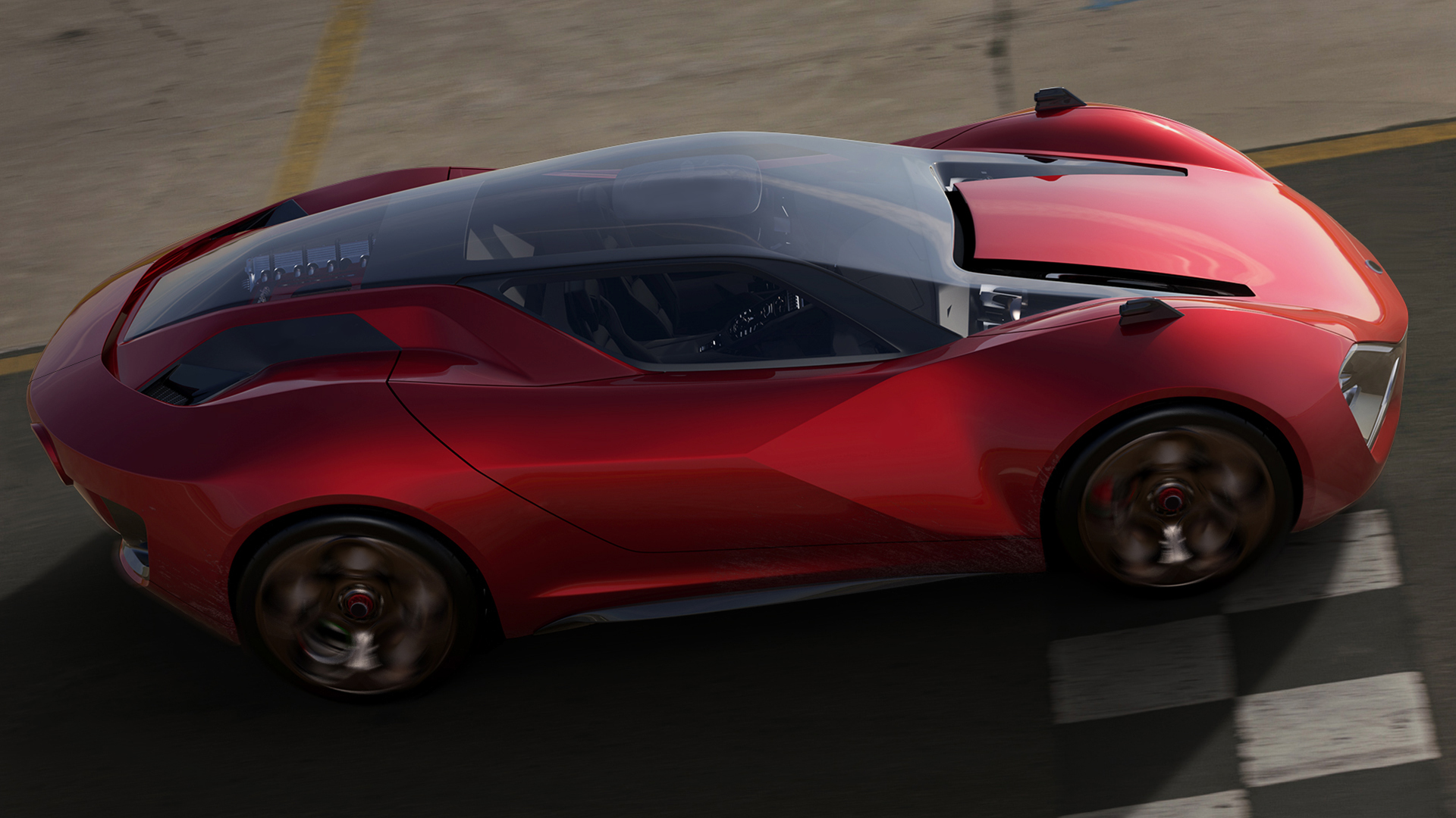 red sporty car driving on racetrack from side view
