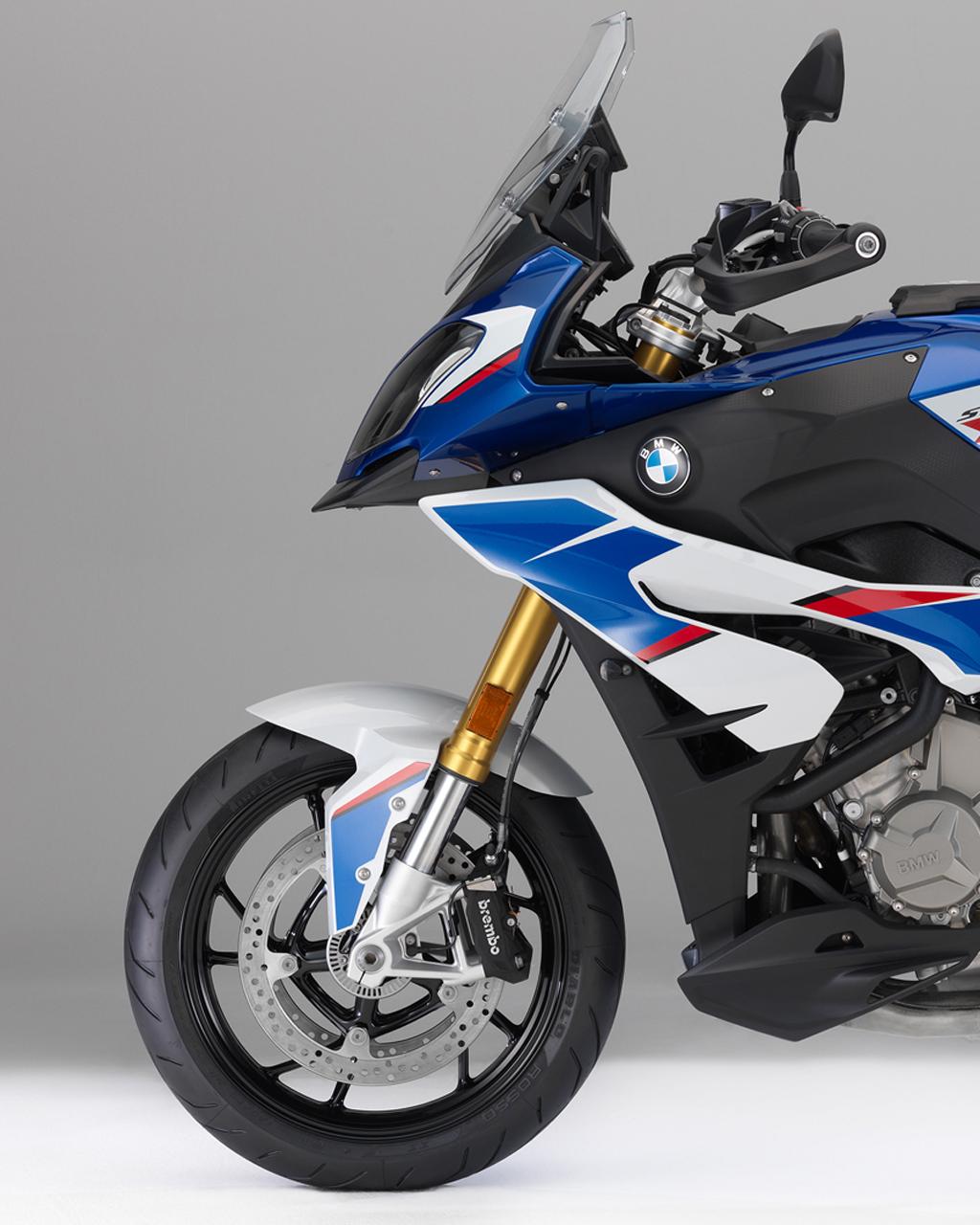 blue white black motorbike bmw