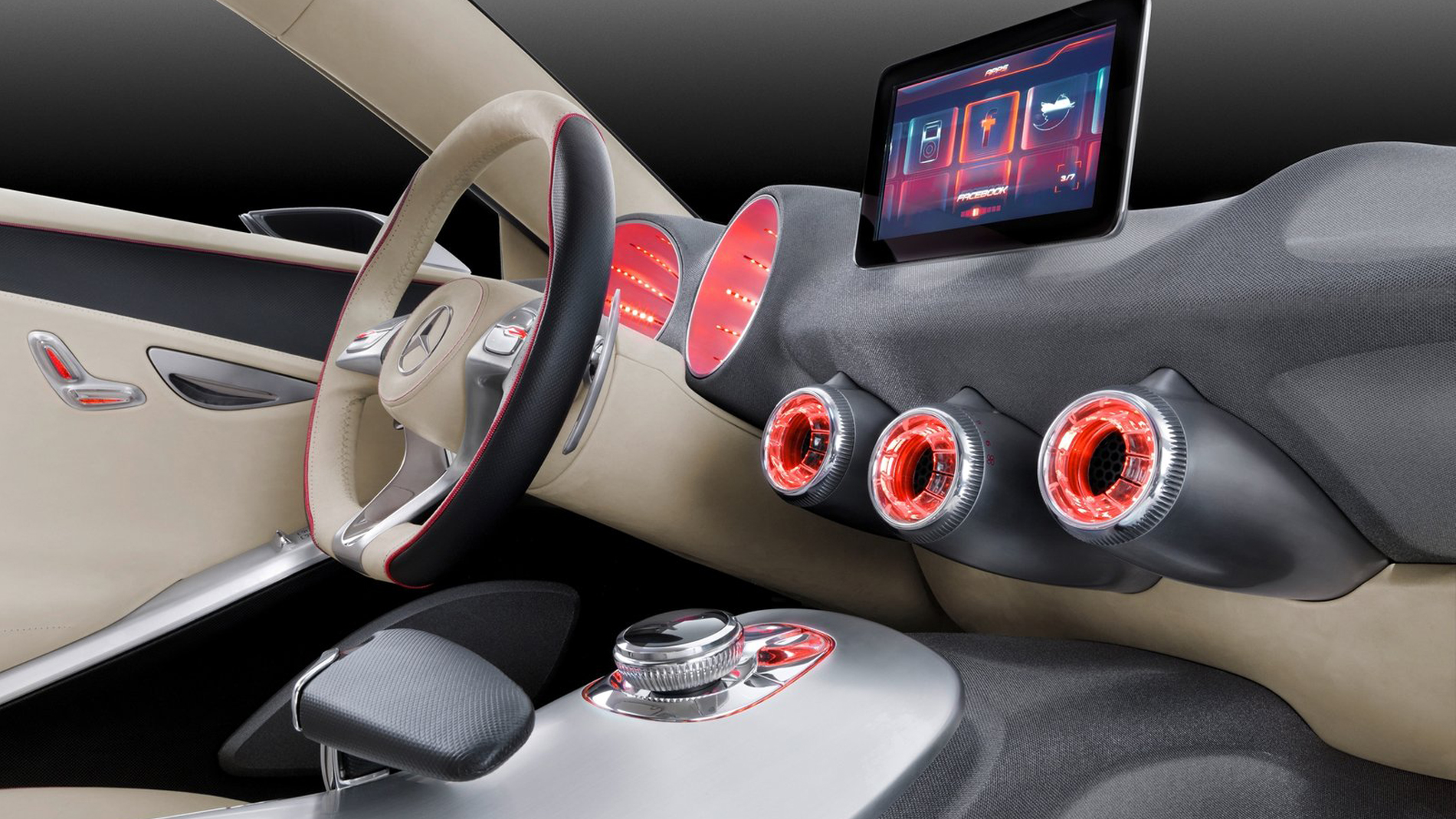 fabric interior with red circular displays and red interface