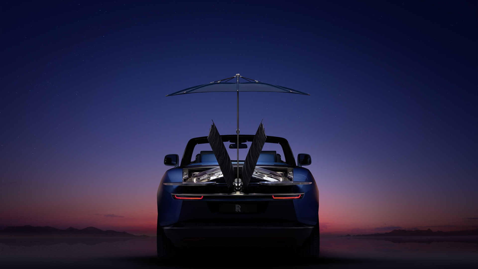 marine blue luxury car Rolls Royce Boat Tail back view on background sunset