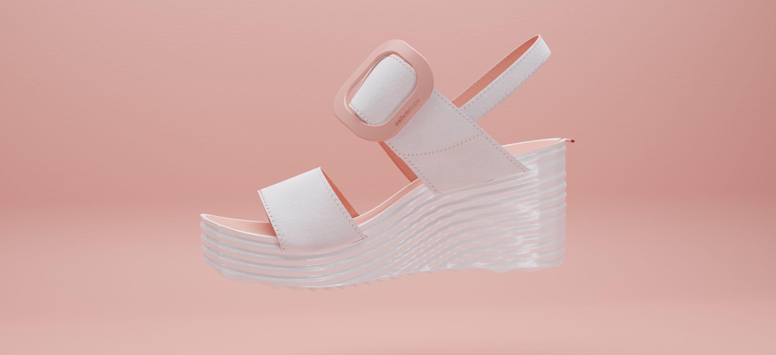 dreiformstudio white wedge sandals with peach highlights on peach background