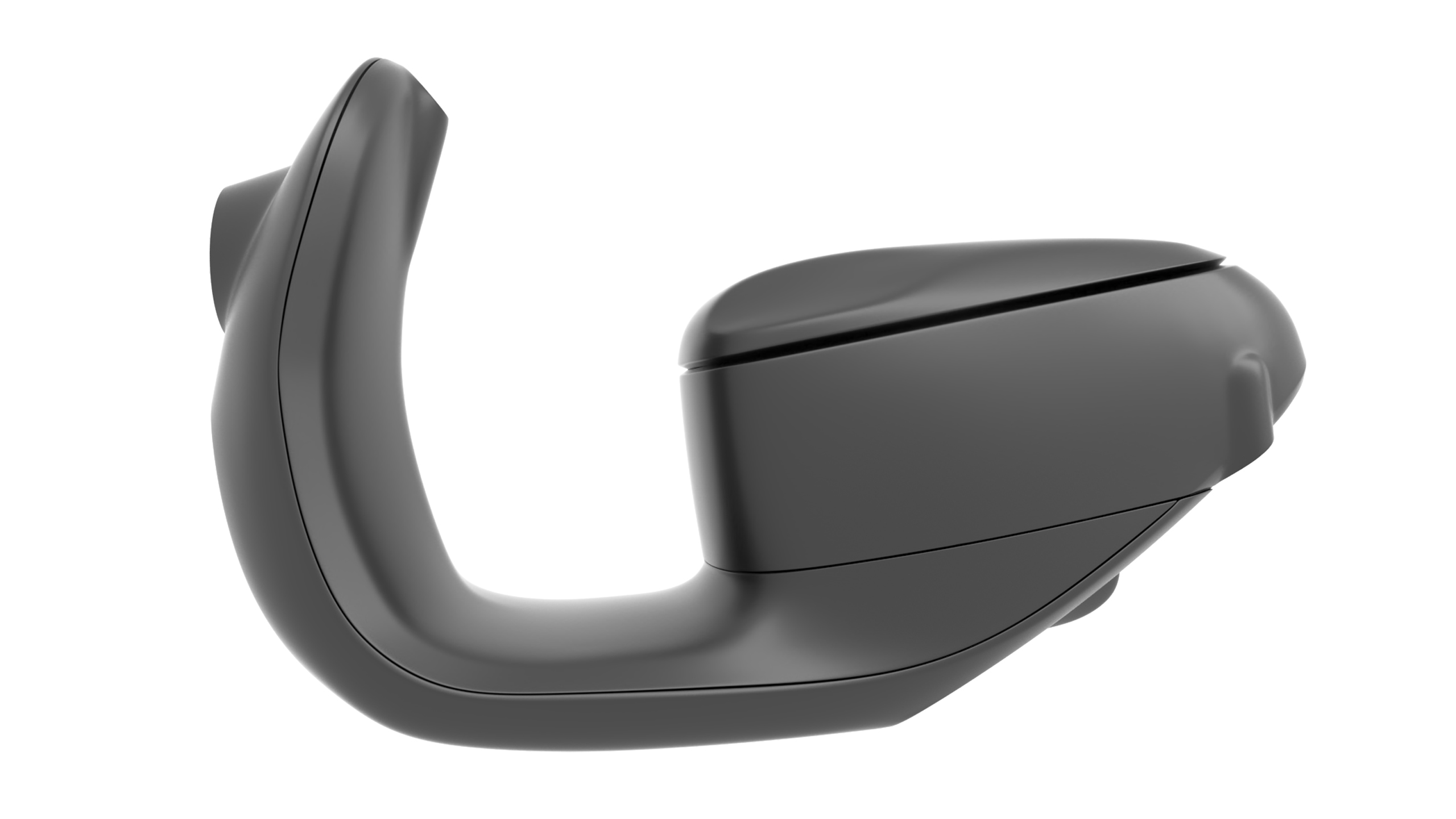 black scooter body detail view on white background rendering side