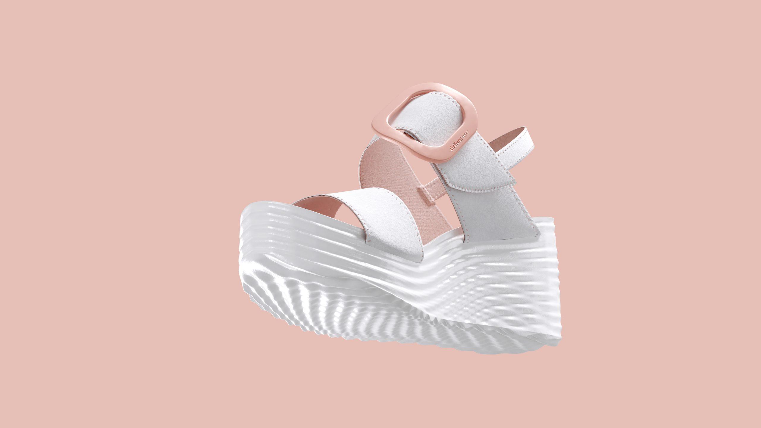 dreiformstudio white concept wedge sandals on peach background, view: below