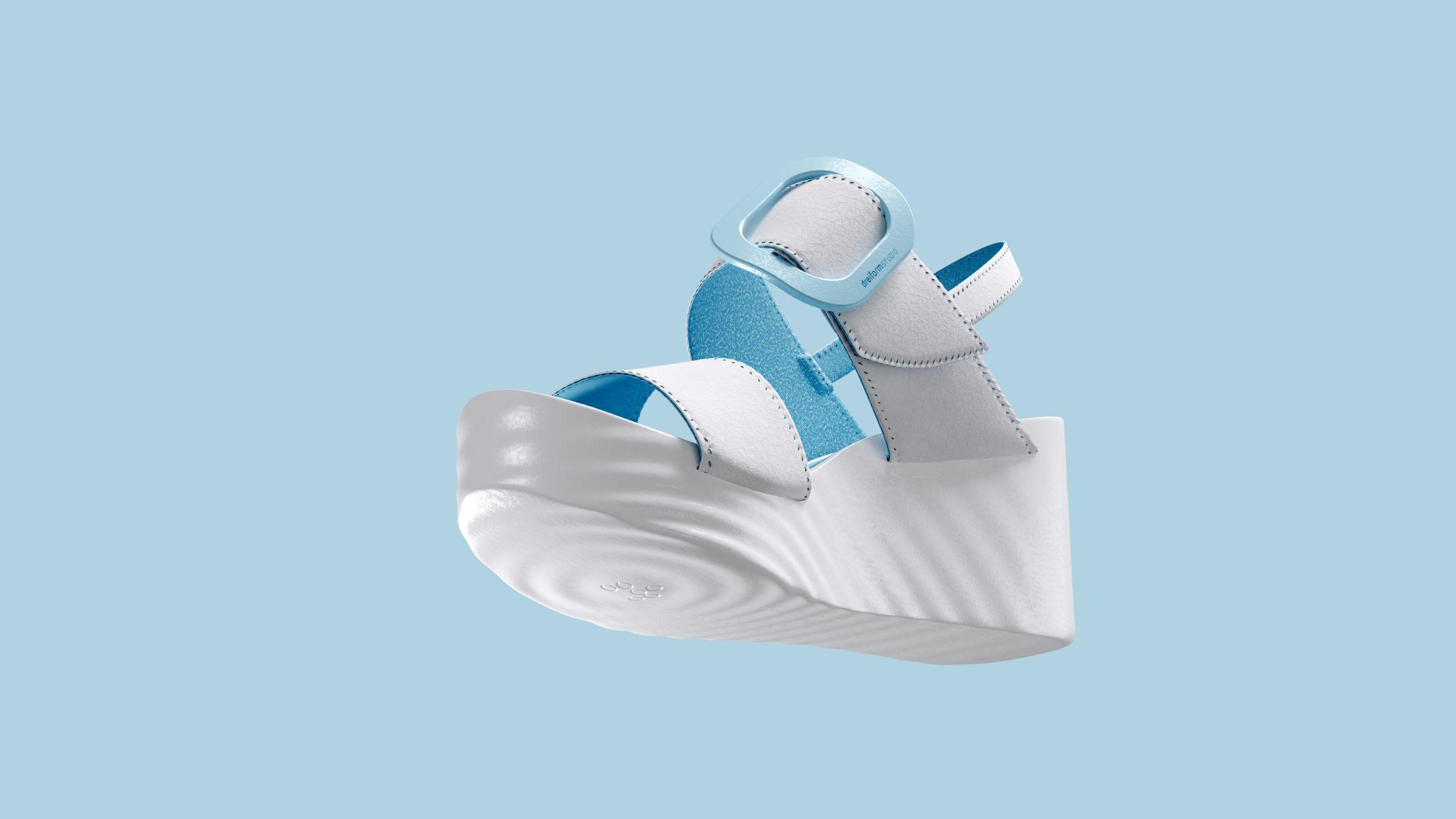 dreiformstudio white concept wedge sandals on blue background, view below