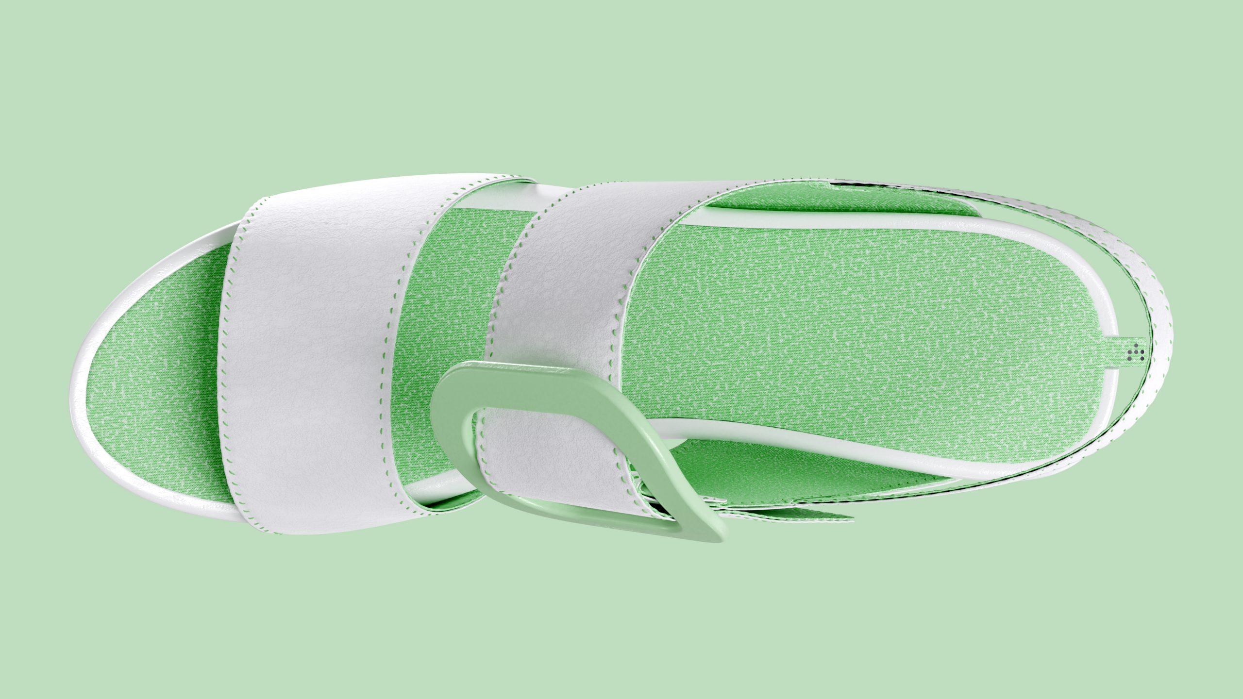 dreiformstudio white concept wedge sandals on green background, topview