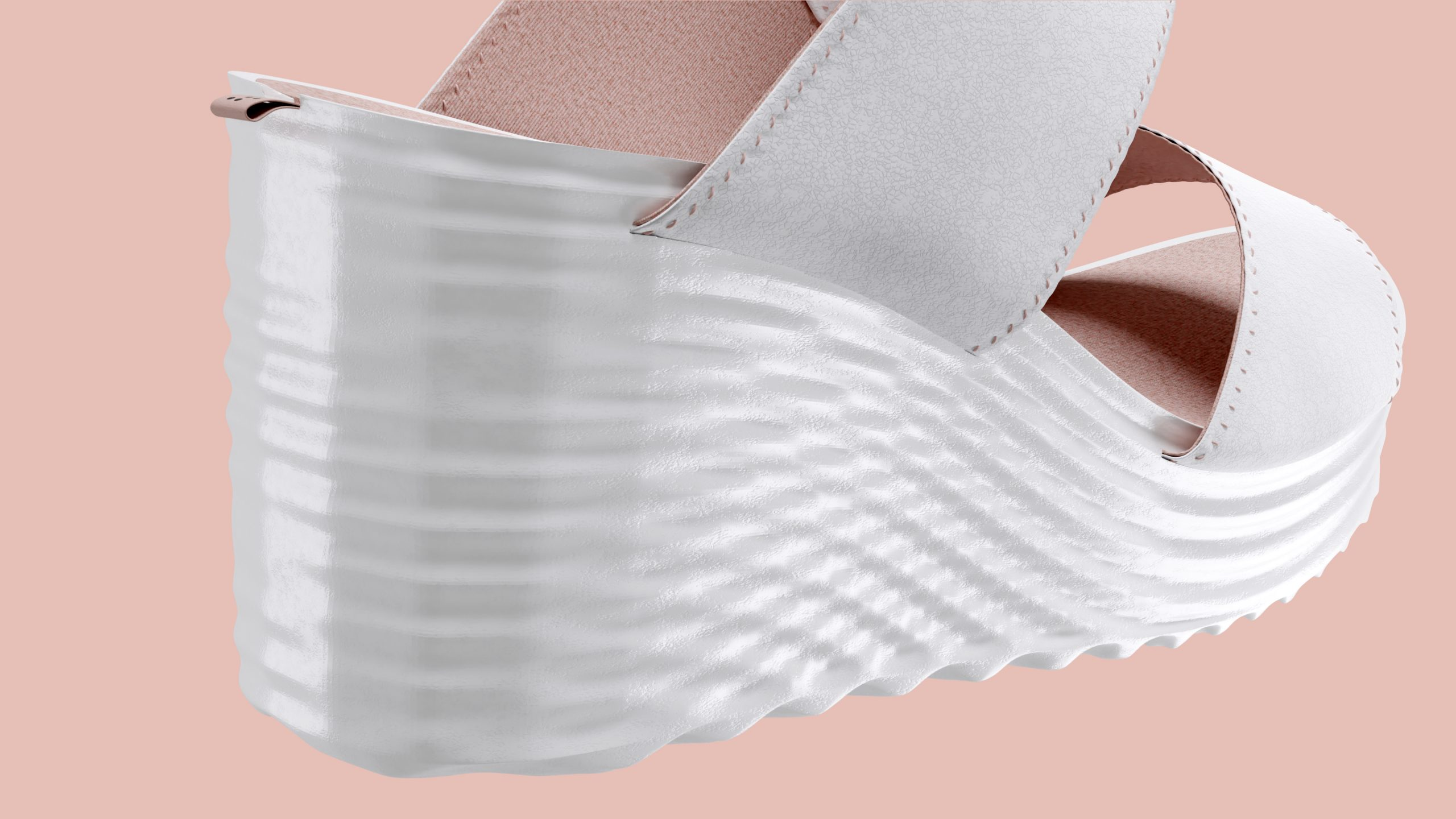 dreiformstudio white concept wedge sandals on peach background, perspective view from back