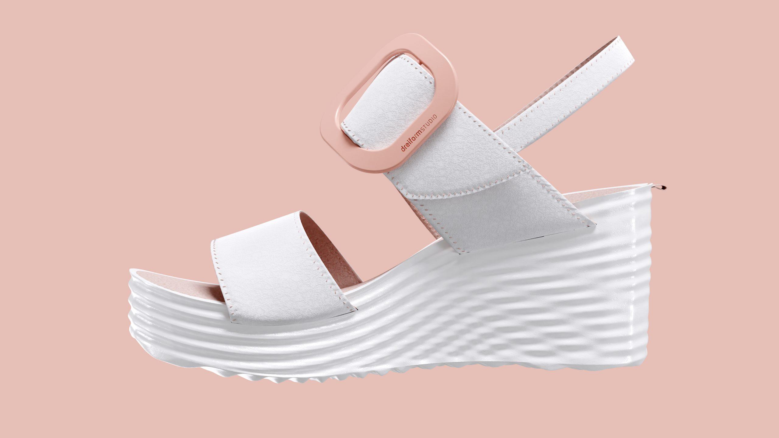 dreiformstudio white concept wedge sandals on peach background, sideview