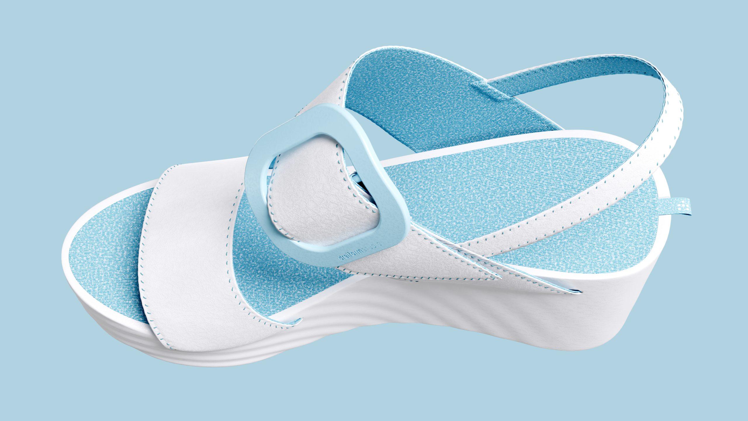 dreiformstudio white concept wedge sandals on blue background, view perspective