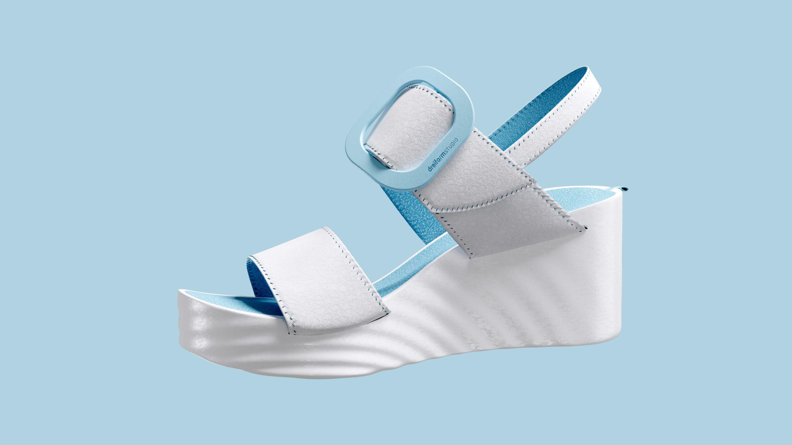 dreiformstudio white concept wedge sandals on blue background, view: side